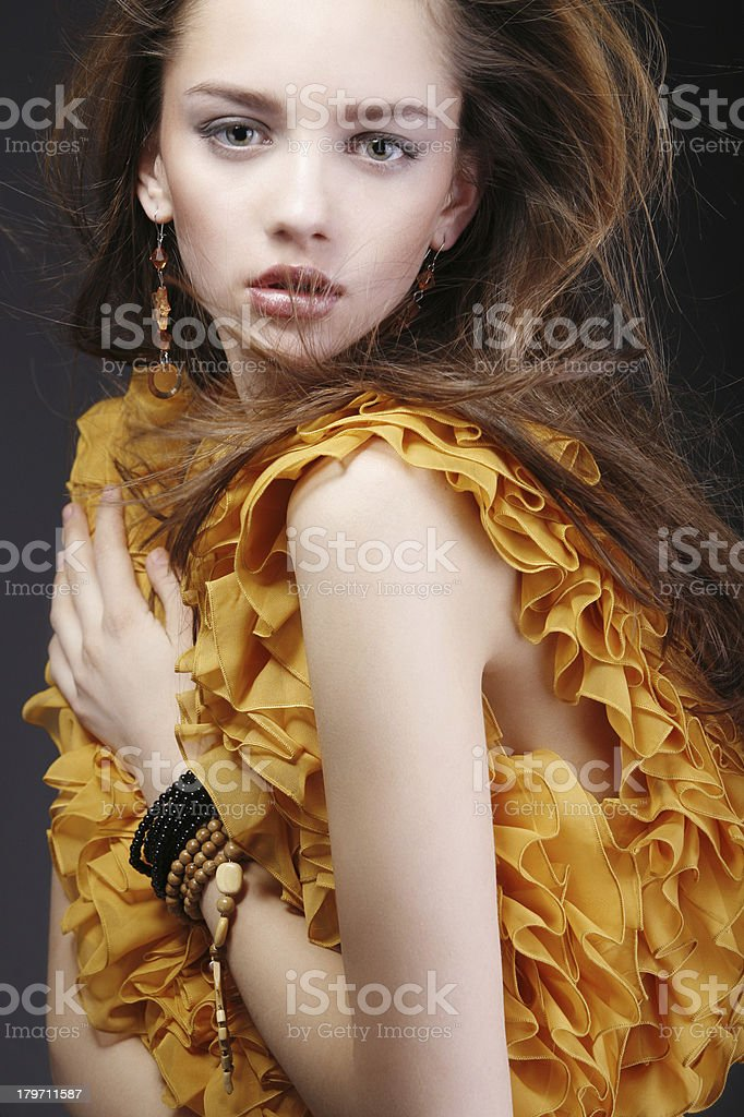 Attractive Woman With Beauty Makeup In Yellow Dress Stock Photo Download Image Now Istock