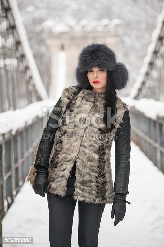 455111881 istock photo Attractive woman with black fur cap enjoying the winter 509853880