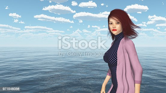 1137329370istockphoto Attractive woman with blowing hair by the sea 971546038