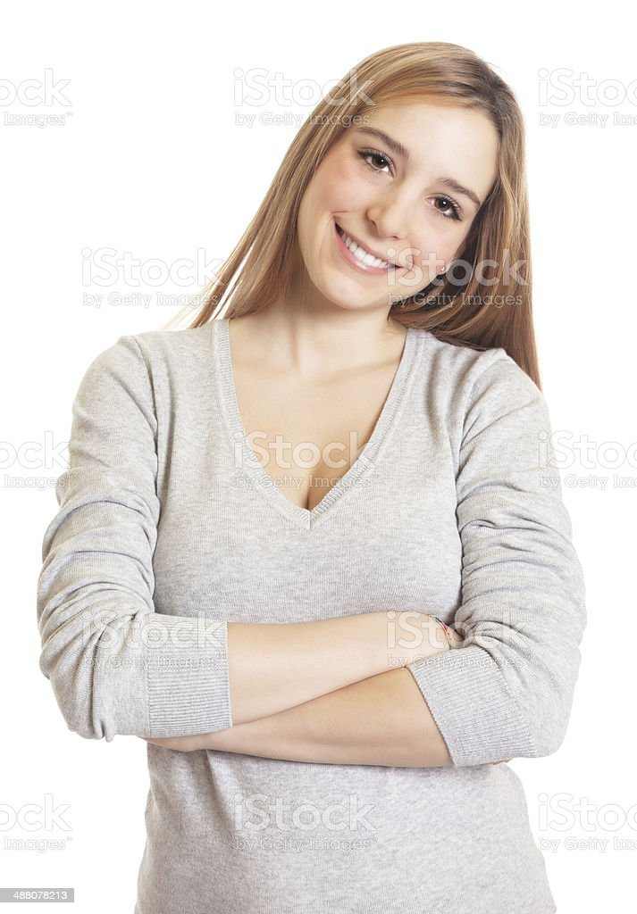 Attractive woman with crossed arms stock photo