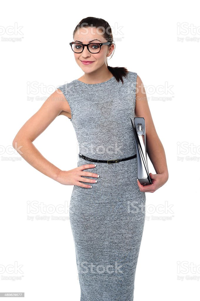 Attractive woman with file folder stock photo