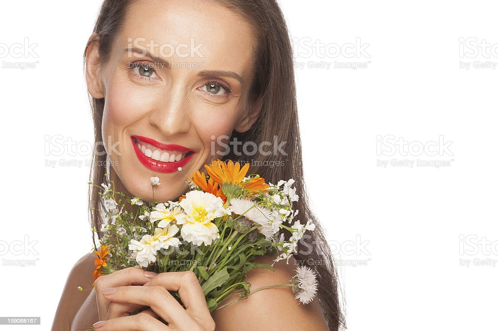 Attractive  woman with flowers royalty-free stock photo