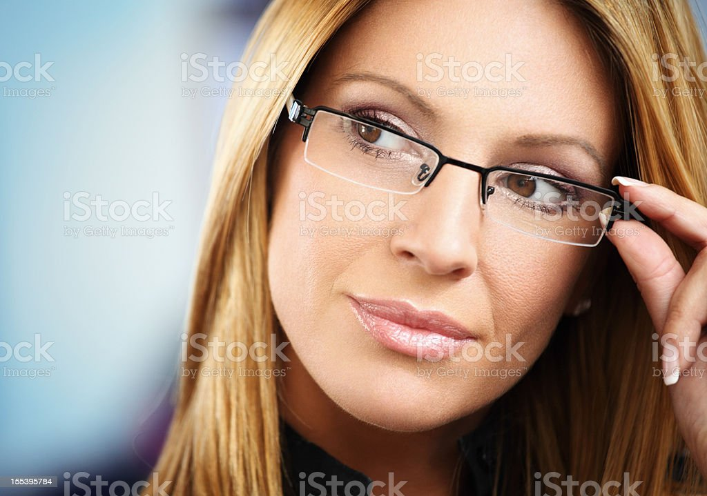 Attractive woman with glasses royalty-free stock photo