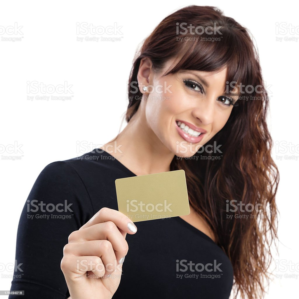 Attractive Woman with Gold Credit Card stock photo