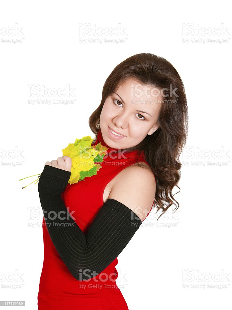 attractive woman with maple leaves stock photo