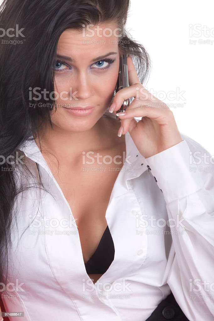 attractive woman with phone look at you royalty-free stock photo