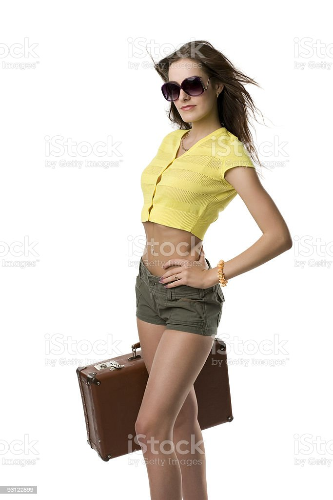 attractive woman with suitcase royalty-free stock photo