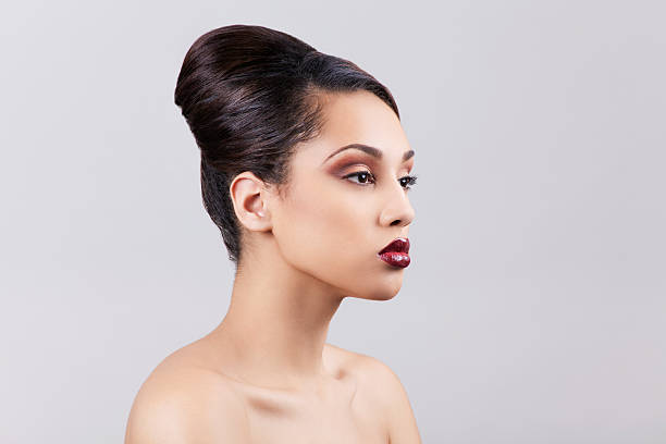 Attractive woman with updo stock photo