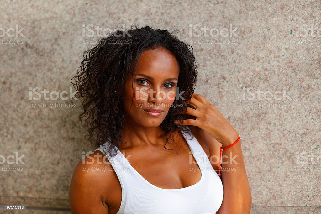 Attractive woman with wavy hair stock photo
