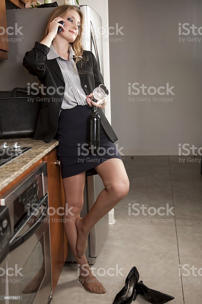 Attractive working woman winding down royalty-free stock photo
