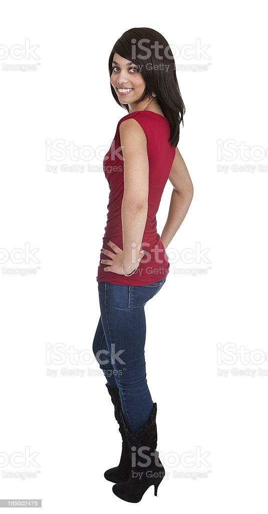 attractive young black girl looking over shoulder royalty-free stock photo