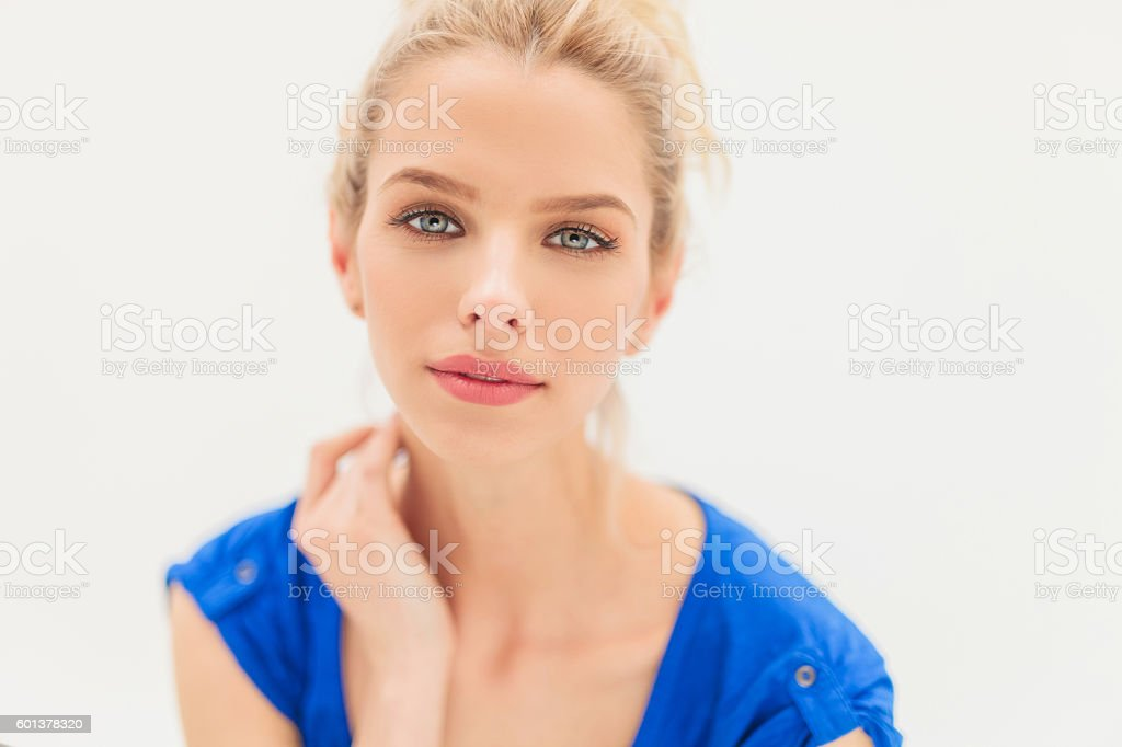 attractive young blonde woman stock photo