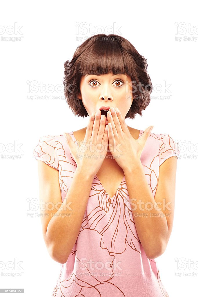 Attractive Young Brunette Looking Surprised. Isolated. royalty-free stock photo