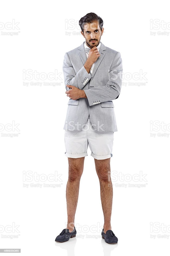Attraktive junge Geschäftsmann mit shorts über weiß – Foto