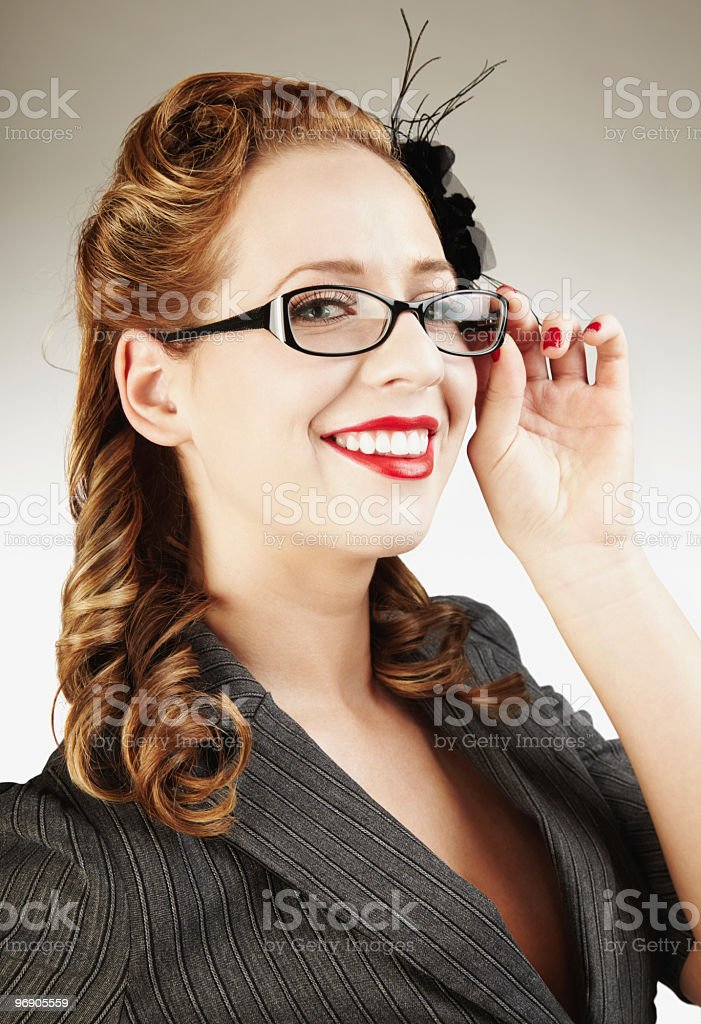 Attractive Young Businesswoman with Glasses, Smiling royalty-free stock photo