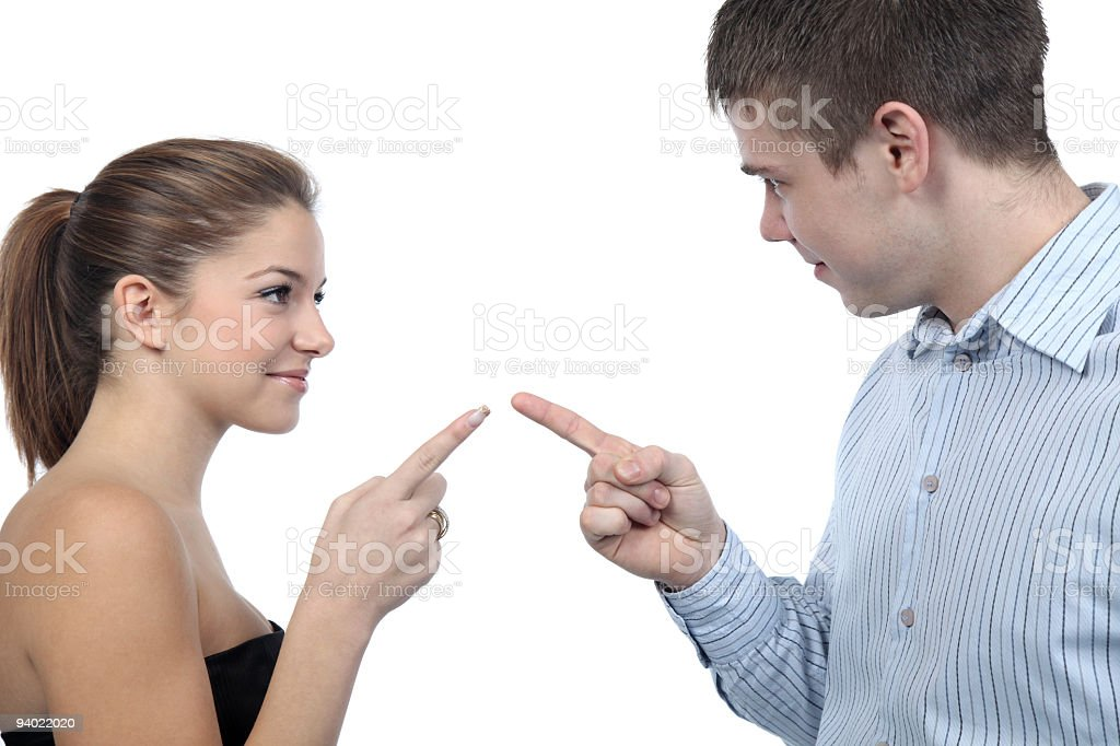 Attractive young couple fighting royalty-free stock photo