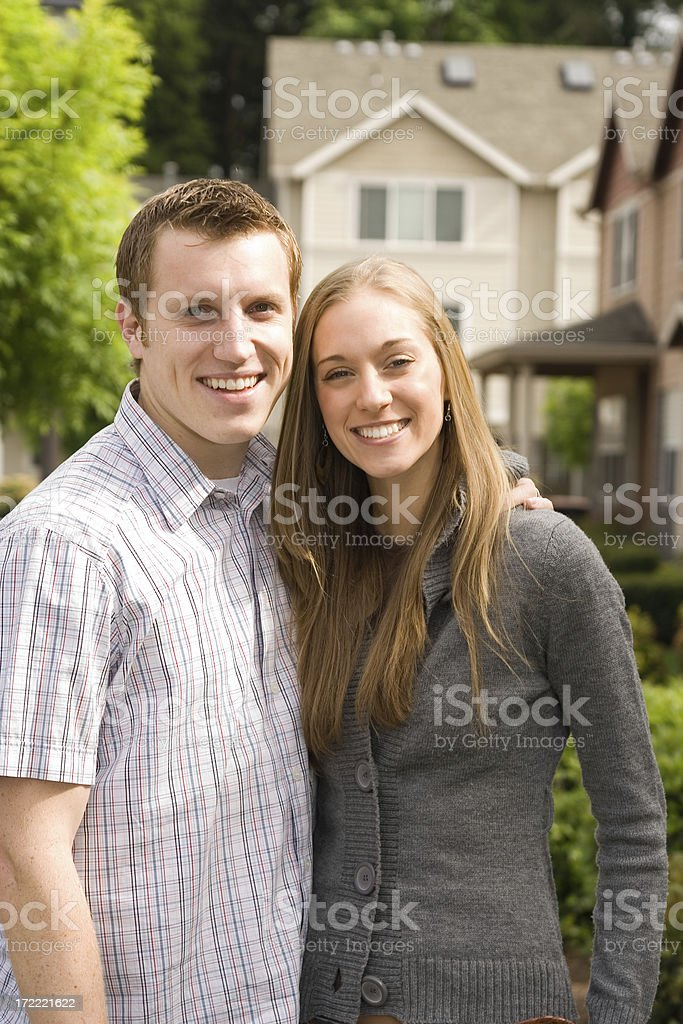 attractive young couple shopping for a home royalty-free stock photo