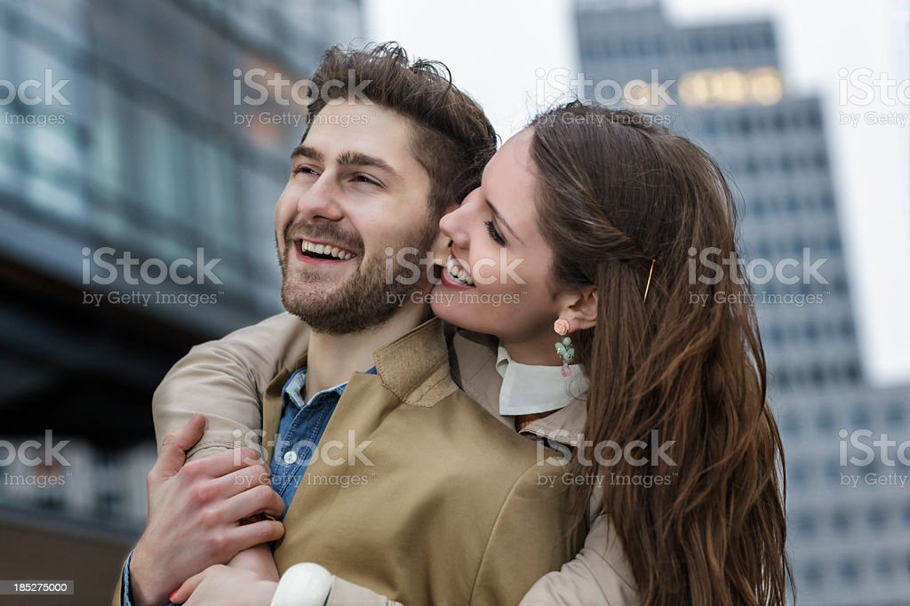 Attractive Young Couple Visiting  Potsdamer Platz Berlin royalty-free stock photo