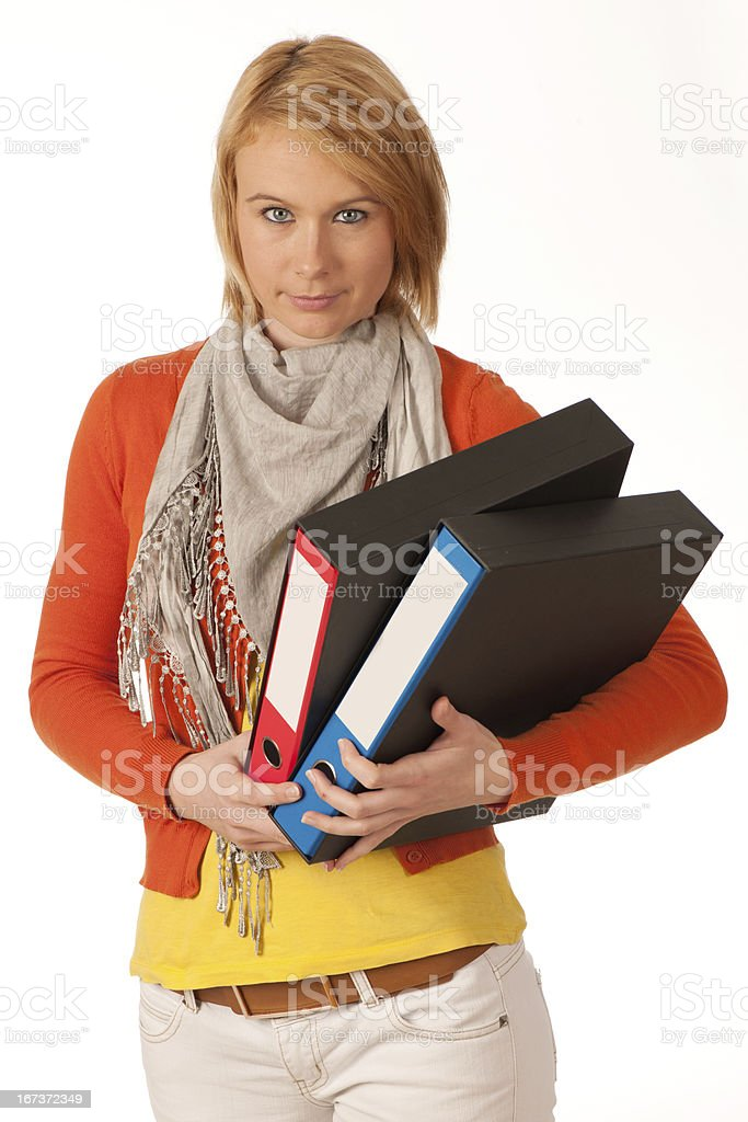 attractive young girl carries file folders royalty-free stock photo
