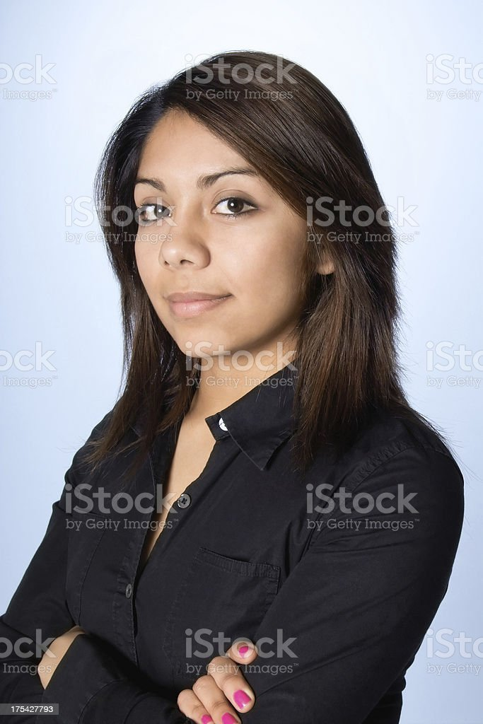 Attractive Young Hispanic Woman in Black royalty-free stock photo