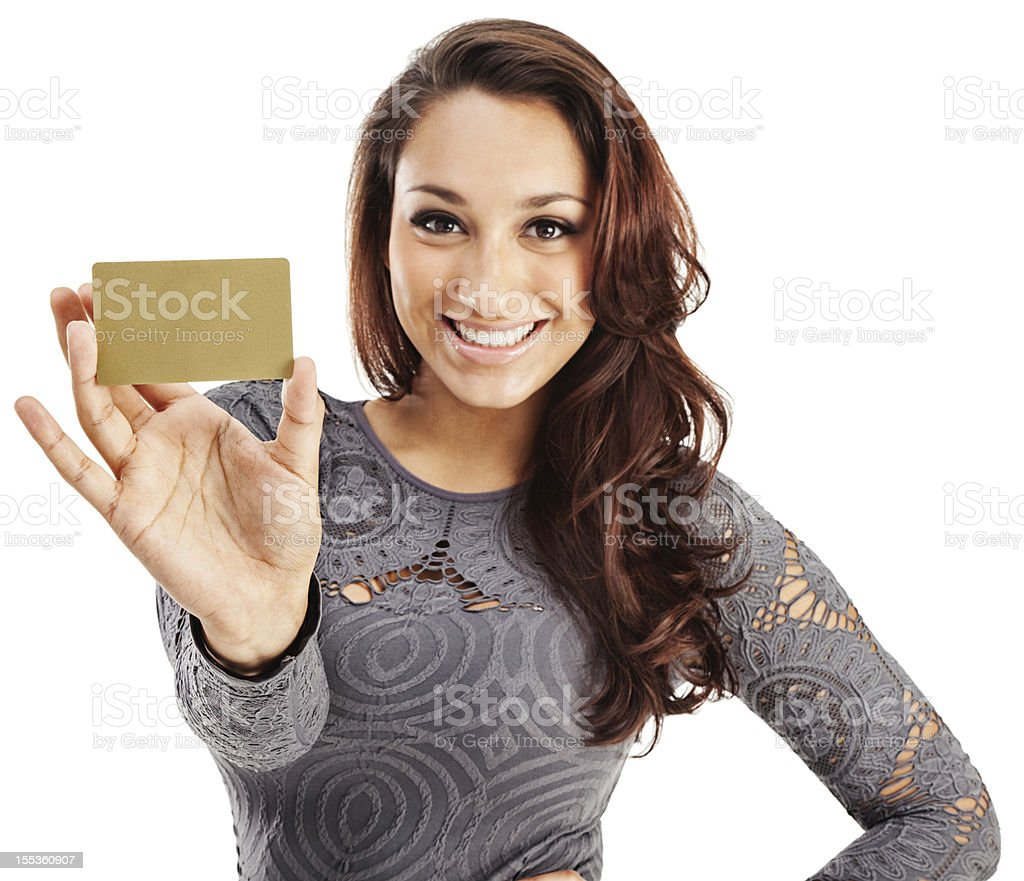 Attractive Young Hispanic Woman with Gold Credit Card stock photo