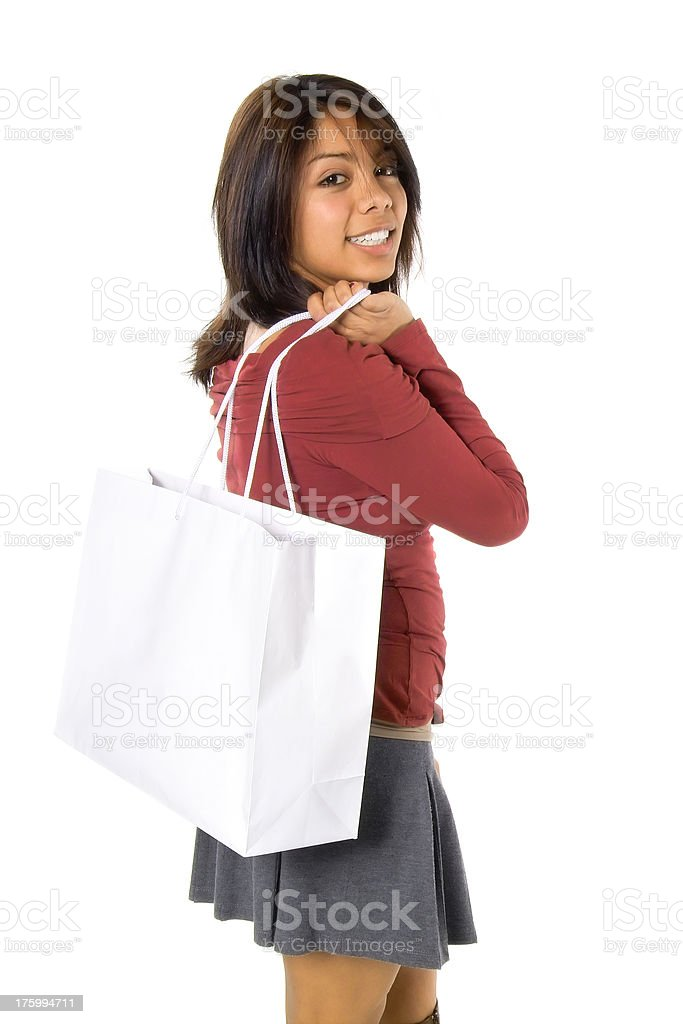 Attractive Young Hispanic Woman with Shopping Bag royalty-free stock photo