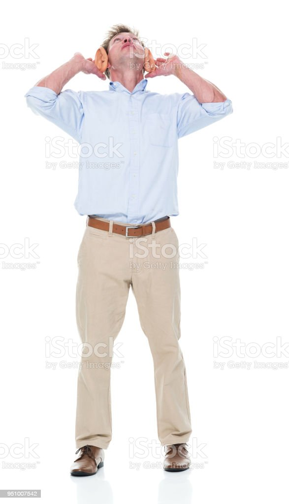Attractive young male has big ears stock photo