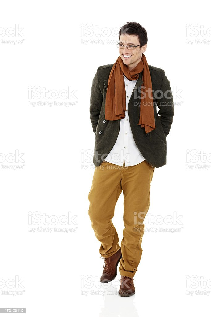 Attractive young male model posing over white royalty-free stock photo