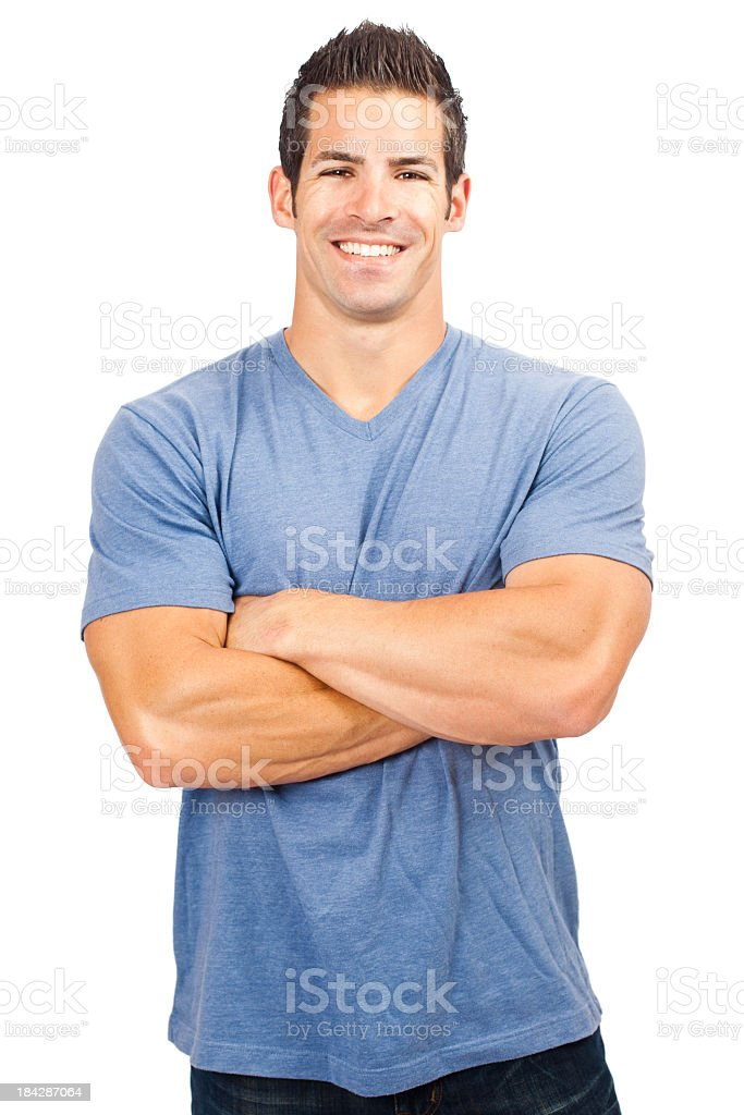 Attractive Young Man on White Background royalty-free stock photo