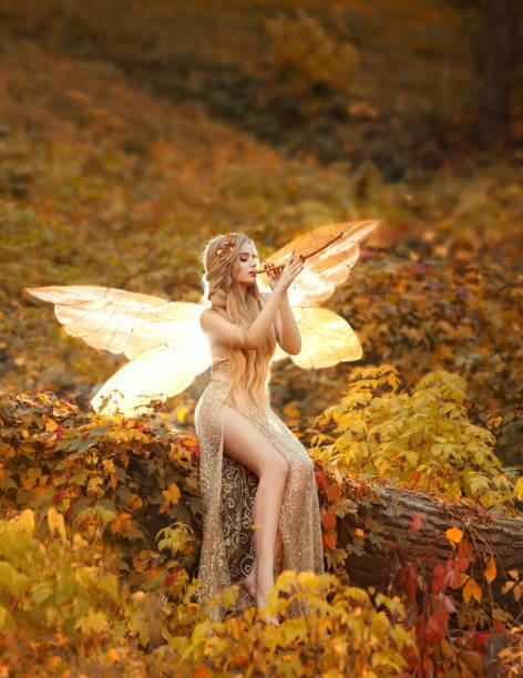 attraktive junge zauberin mit blonden langen haaren, sitzt auf einem umgestürzten baum, gekleidet in eine wunderschöne beige kleid mit offenen sexy schlanke beine, auf ein hölzernes rohr, einen hellen wald falter im herbst foto blinkt - elfenkostüm damen stock-fotos und bilder
