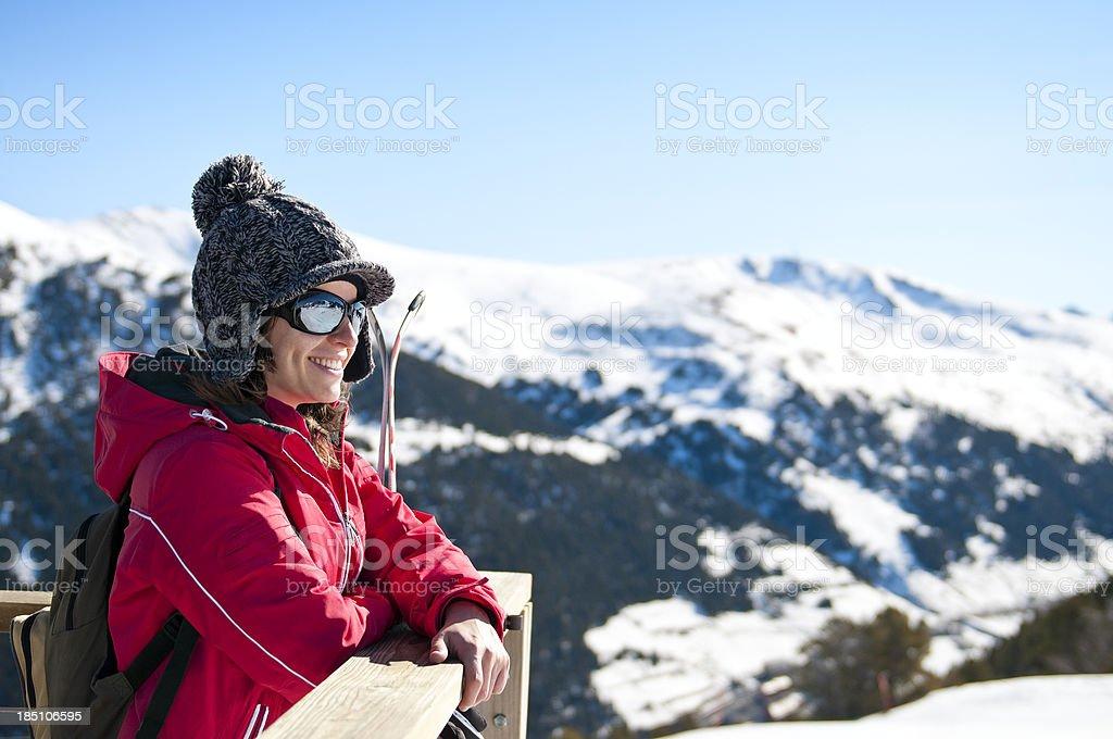 Attractive young woman at a skiing resort royalty-free stock photo