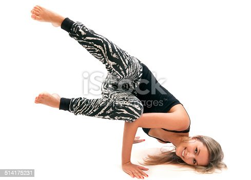 istock Attractive young woman breakdancing 514175231