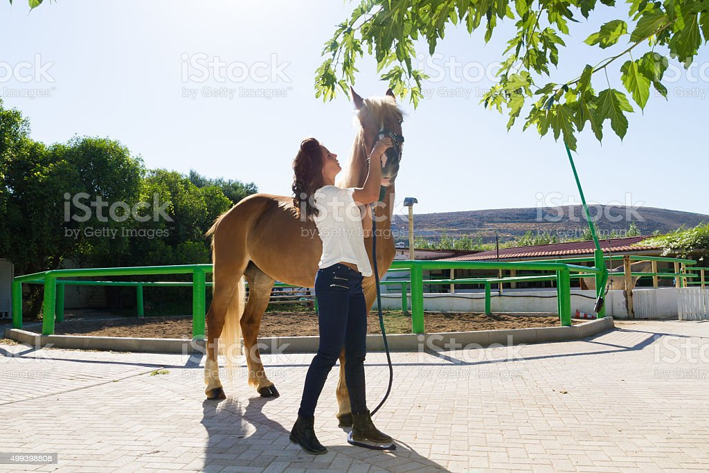 Attractive young woman grooming a horse at the stables stock photo