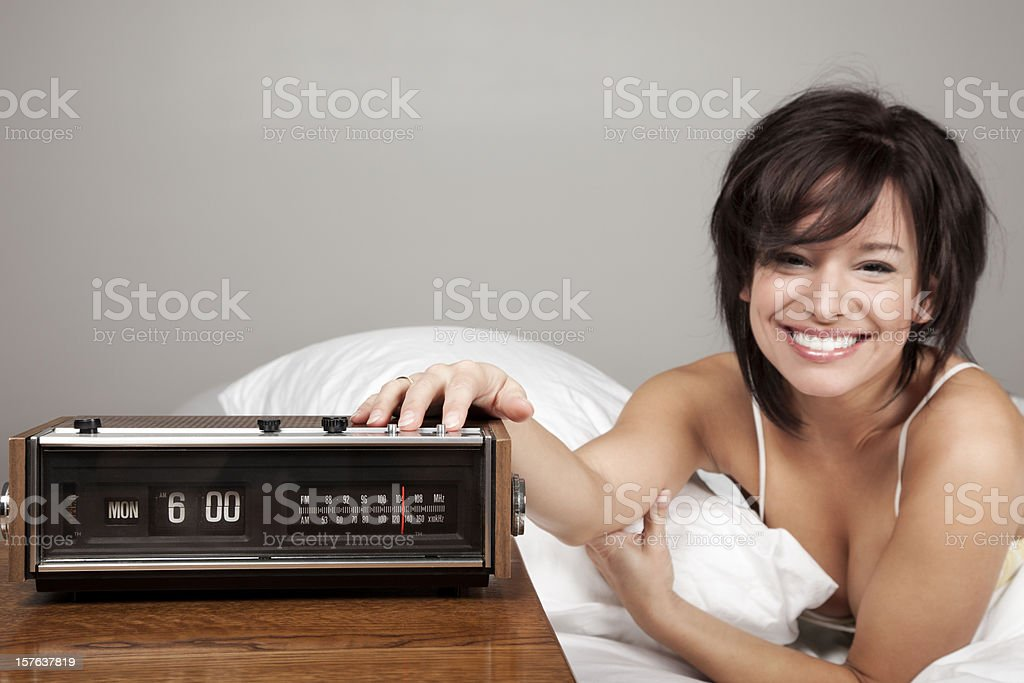 Attractive Young Woman Happy on Monday Morning stock photo