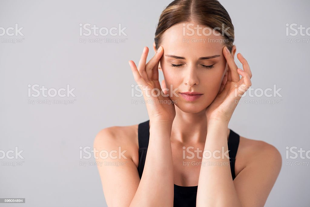 Attractive young woman having ache royalty-free stock photo