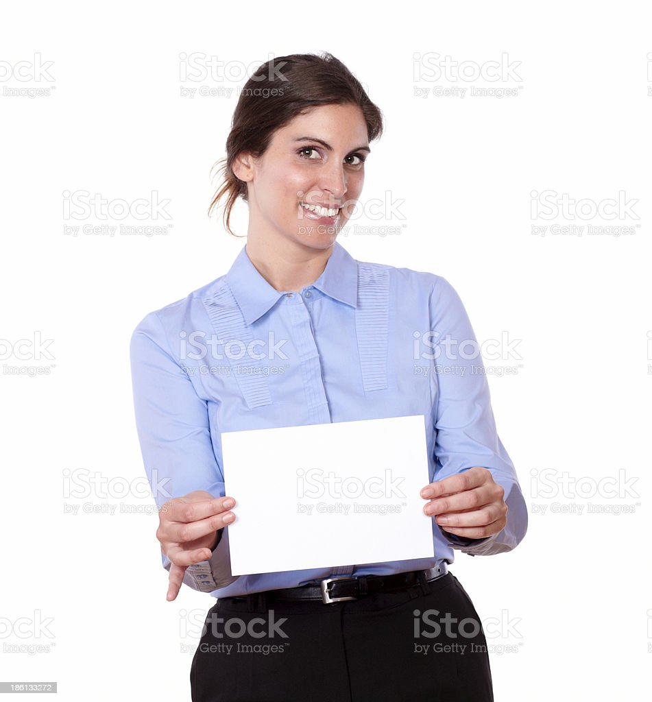 Attractive young woman holding a blank card royalty-free stock photo