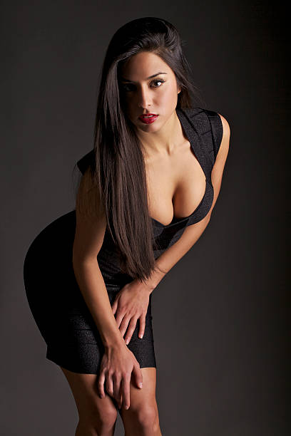 Attractive Young Woman in a Tight Dress stok fotoğrafı