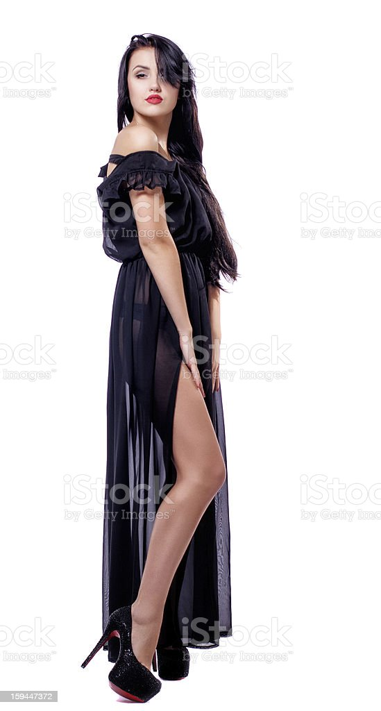 Attractive young woman in black dress royalty-free stock photo