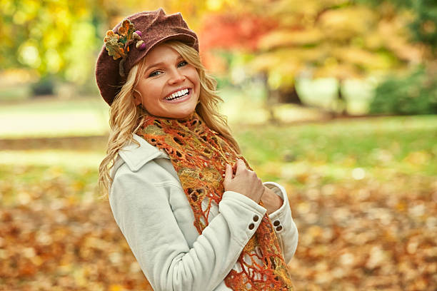Attractive Young Woman in Fall Fashion stock photo