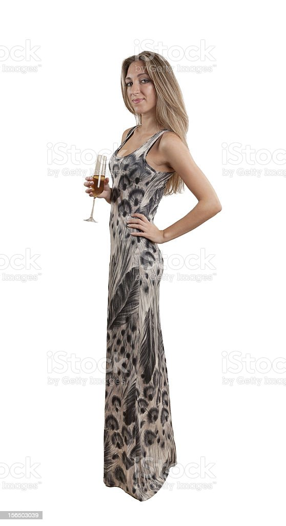 Attractive young woman in party dress royalty-free stock photo