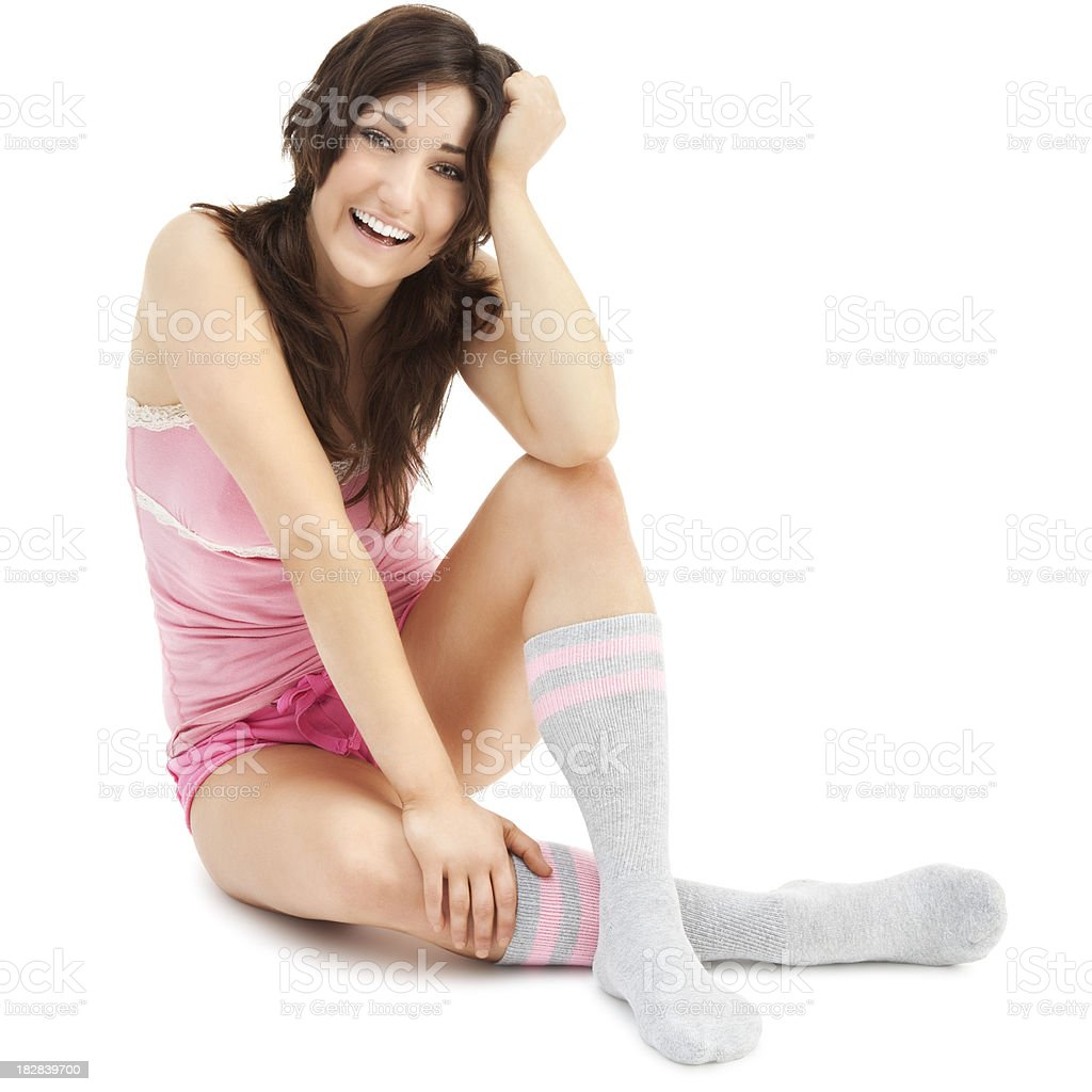 Attractive Young Woman in Pink Shorts and Gray Tube Socks stock photo