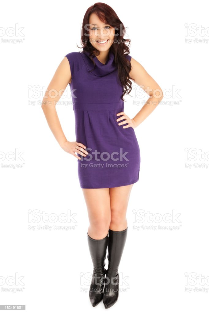 Attractive Young Woman in Purple Sweater Dress stock photo