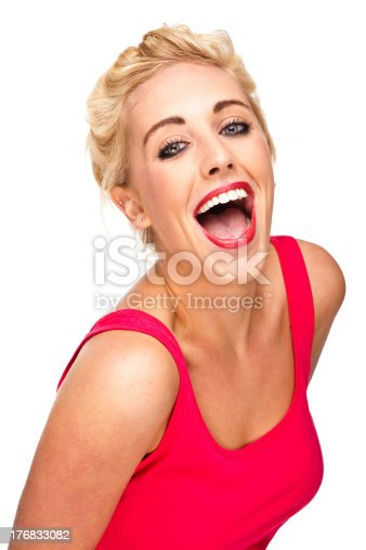 155097509 istock photo Attractive young woman laughing at camera -  close-up portrait 176833082