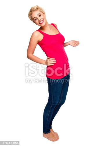 155097509 istock photo Attractive young woman laughing at camera 176906554