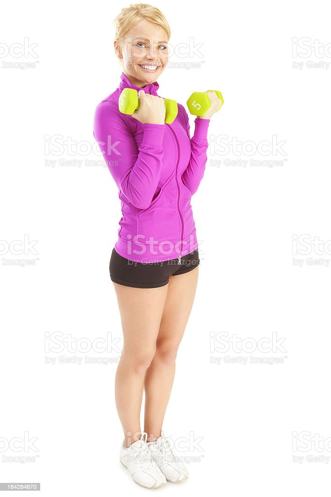 Attractive Young Woman Lifting Weights royalty-free stock photo