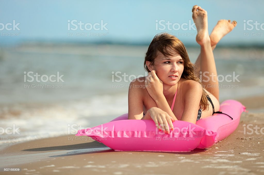 Attractive Young Woman On Beach royalty-free stock photo