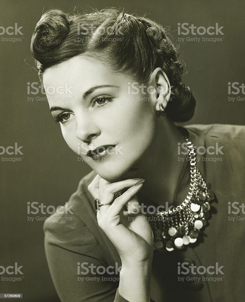 Attractive young woman, (B&W), portrait stock photo