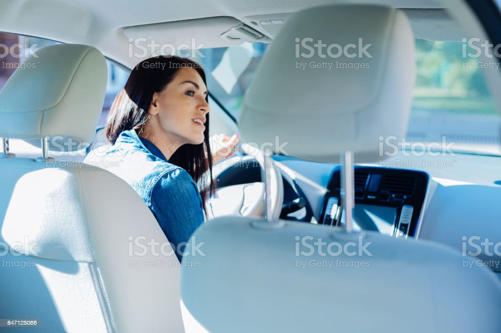 Attractive young woman sitting in the car stock photo