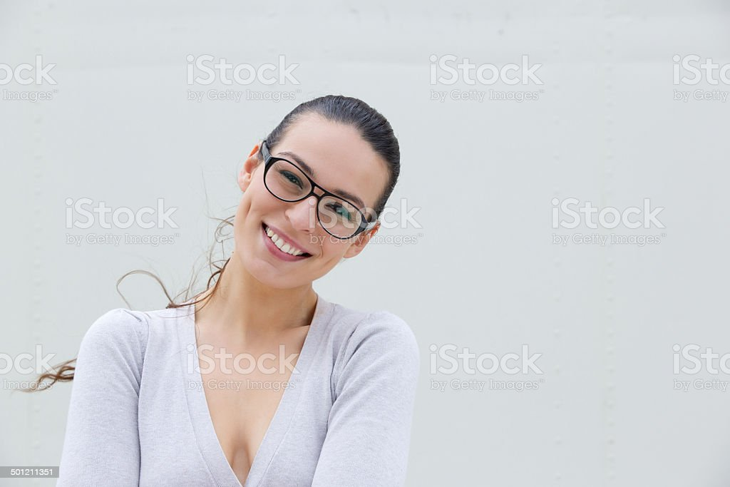 45110781a702 Attractive Young Woman Smiling With Glasses Stock Photo   More ...