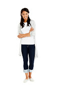 istock Attractive young woman standing on white 452629237